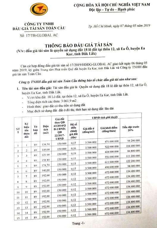 Ngày 31/5/2019, đấu giá quyền sử dụng đất tại huyện Ea Kar, tỉnh Đắk Lắk - ảnh 1