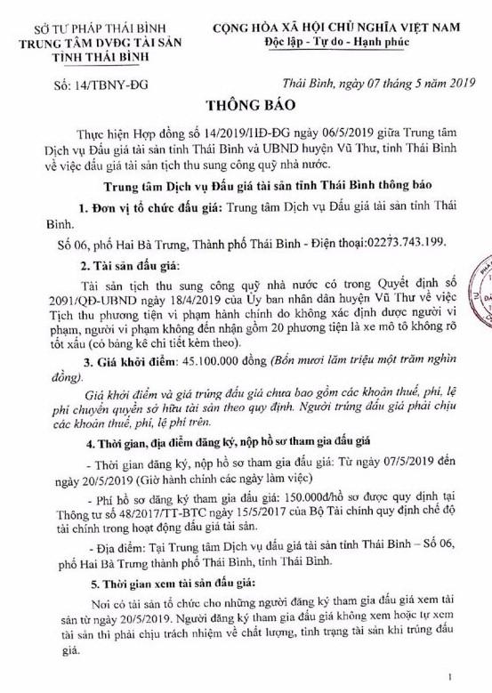 Ngày 23/5/2019, đấu giá tài sản tịch thu sung quỹ tại tỉnh Thái Bình - ảnh 1