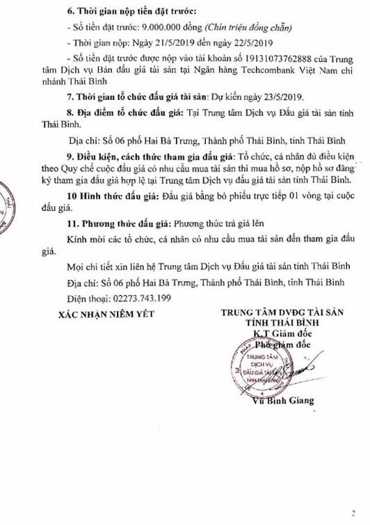 Ngày 23/5/2019, đấu giá tài sản tịch thu sung quỹ tại tỉnh Thái Bình - ảnh 2