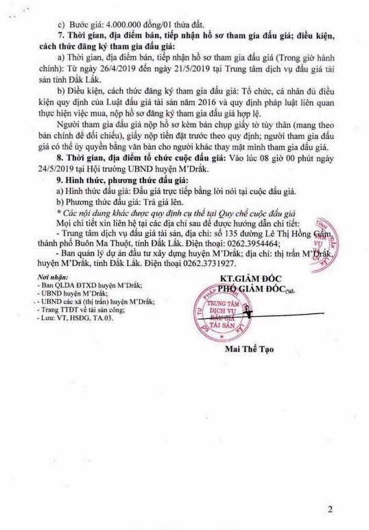 Ngày 24/5/2019, đấu giá quyền sử dụng đất tại huyện M'Drắk, tỉnh Đắk Lắk - ảnh 2