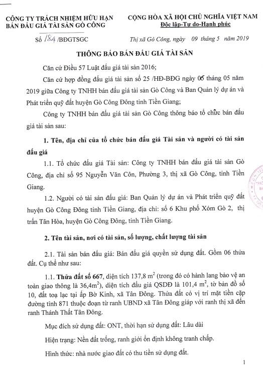 Ngày 3/6/2019, đấu giá quyền sử dụng đất tại huyện Gò Công Đông, tỉnh Tiền Giang - ảnh 1