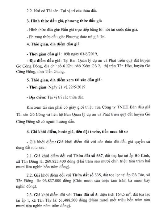 Ngày 3/6/2019, đấu giá quyền sử dụng đất tại huyện Gò Công Đông, tỉnh Tiền Giang - ảnh 3