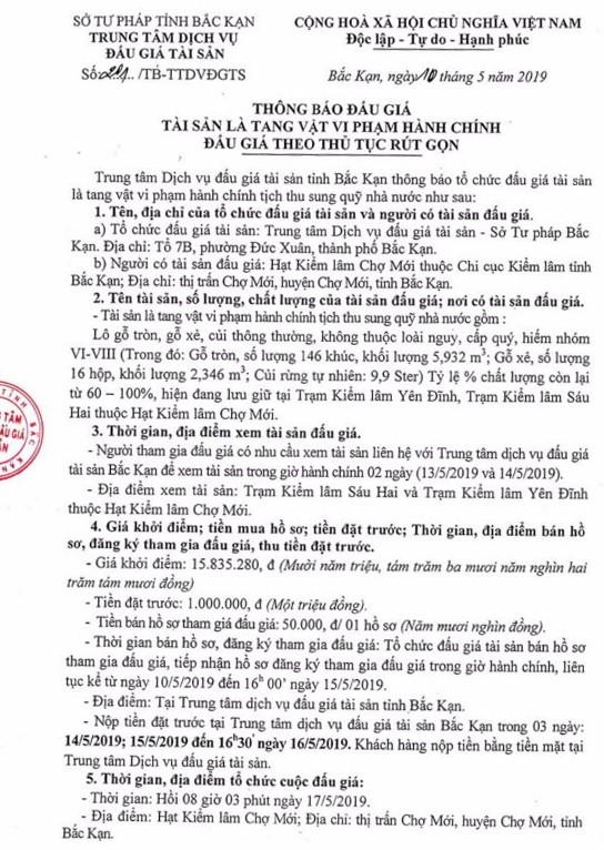Ngày 17/5/2019, đấu giá lô gỗ tròn, gỗ xẻ tại tỉnh Bắc Kạn - ảnh 1