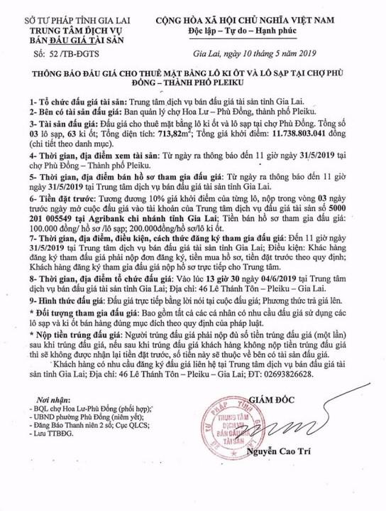 Ngày 4/6/2019, đấu giá cho thuê mặt bằng kinh doanh tại tỉnh Gia Lai - ảnh 1