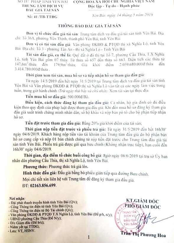 Ngày 6/6/2019, đấu giá quyền sử dụng đất tại thị xã Nghĩa Lộ, tỉnh Yên Bái - ảnh 1
