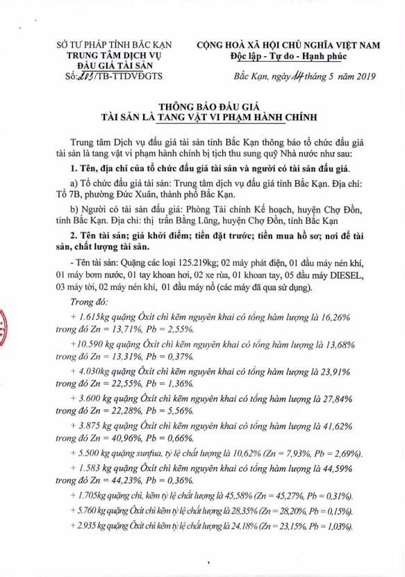 Ngày 31/5/2019, đấu giá quặng các loại tại tỉnh Bắc Kạn - ảnh 1