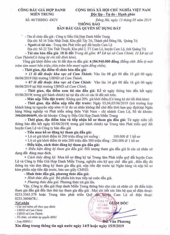 Ngày 6/6/2019, đấu giá quyền sử dụng đất tại huyện Cam Lộ, tỉnh Quảng Trị - ảnh 1