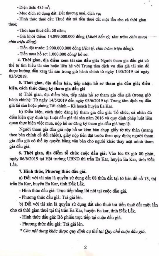 Ngày 6/6/2019, đấu giá quyền sử dụng đất tại huyện Ea Kar, tỉnh Đắk Lắk - ảnh 2