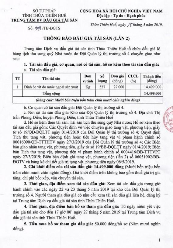 Ngày 30/5/2019, đấu giá đinh ốc vít tại tỉnh Thừa Thiên Huế - ảnh 1