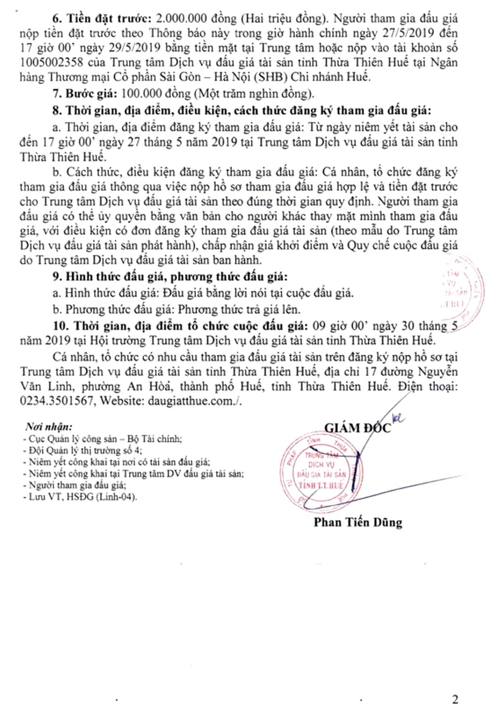 Ngày 30/5/2019, đấu giá đinh ốc vít tại tỉnh Thừa Thiên Huế - ảnh 2