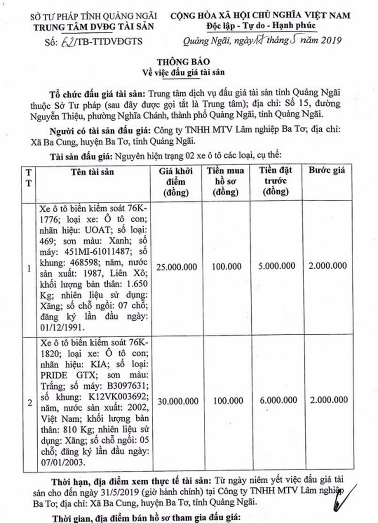 Ngày 3/6/2019, đấu giá 02 xe ô tô tại tỉnh Quảng Ngãi - ảnh 1