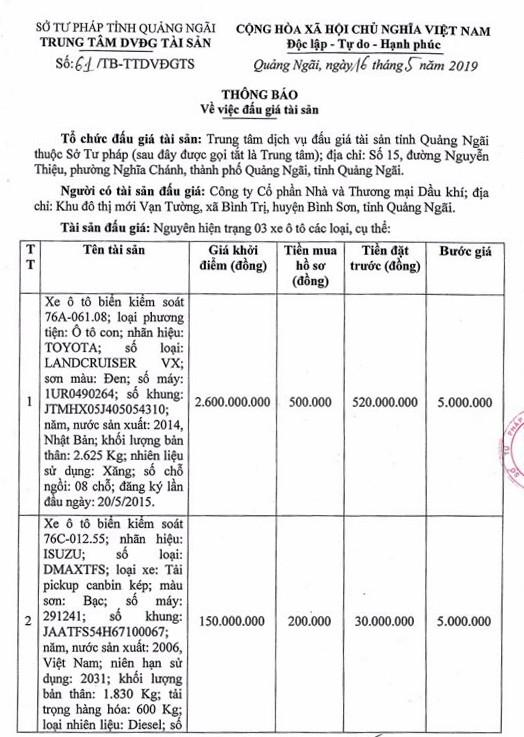 Ngày 31/5/2019, đấu giá 03 xe ô tô tại tỉnh Quảng Ngãi - ảnh 1