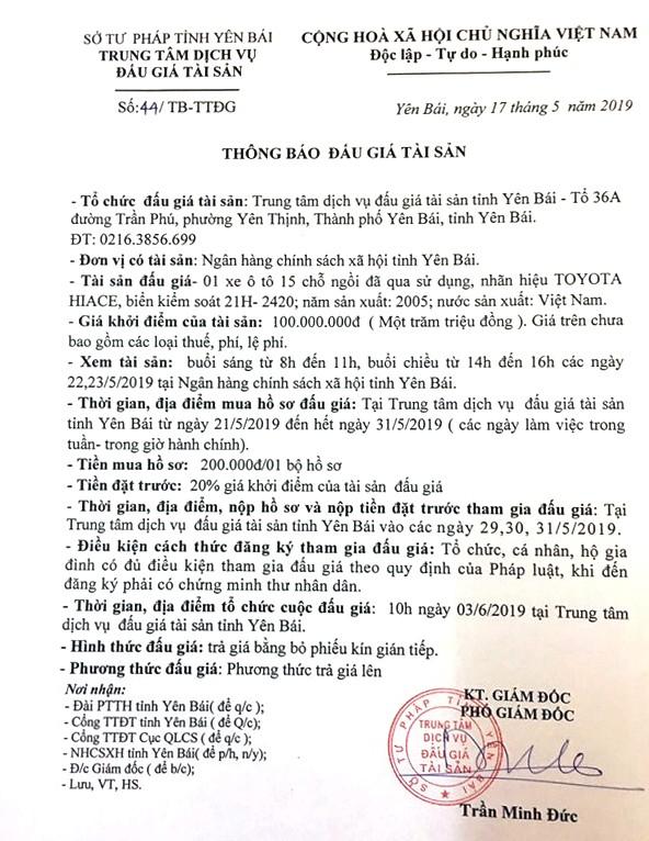 Ngày 3/6/2019, đấu giá 01 xe ô tô Toyota tại tỉnh Yên Bái - ảnh 1