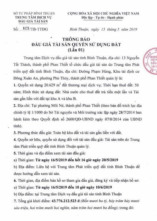 Ngày 13/6/2019, đấu giá quyền sử dụng đất tại thành phố Phan Thiết, tỉnh Bình Thuận - ảnh 1