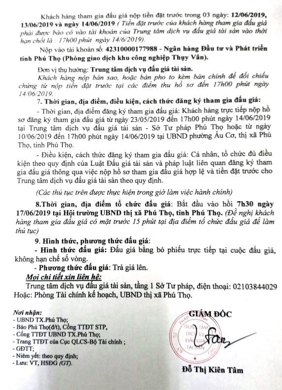 Ngày 17/6/2019, đấu giá quyền sử dụng đất tại thị xã Phú Thọ, tỉnh Phú Thọ - ảnh 5