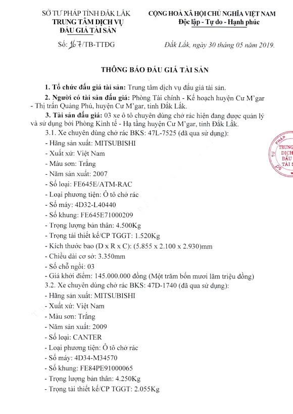 Ngày 18/6/2019, đấu giá 3 xe ô tô chuyên dụng tại tỉnh Đắk Lắk - ảnh 1