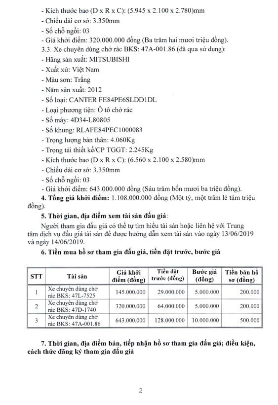 Ngày 18/6/2019, đấu giá 3 xe ô tô chuyên dụng tại tỉnh Đắk Lắk - ảnh 2