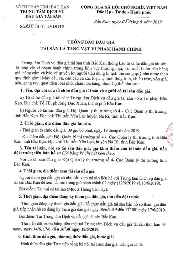 Ngày 19/6/2019, đấu giá tang vật vi phạm hành chính tại tỉnh Bắc Kạn - ảnh 1