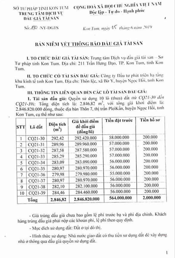 Ngày 28/6/2019, đấu giá quyền sử dụng đất tại huyện Ngọc Hồi, tỉnh Kon Tum - ảnh 1