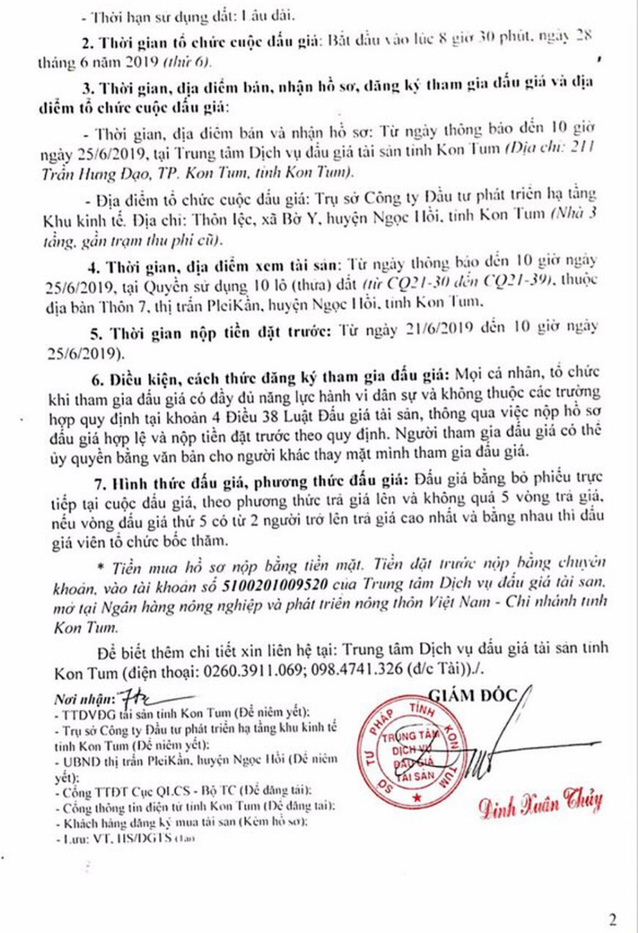 Ngày 28/6/2019, đấu giá quyền sử dụng đất tại huyện Ngọc Hồi, tỉnh Kon Tum - ảnh 2