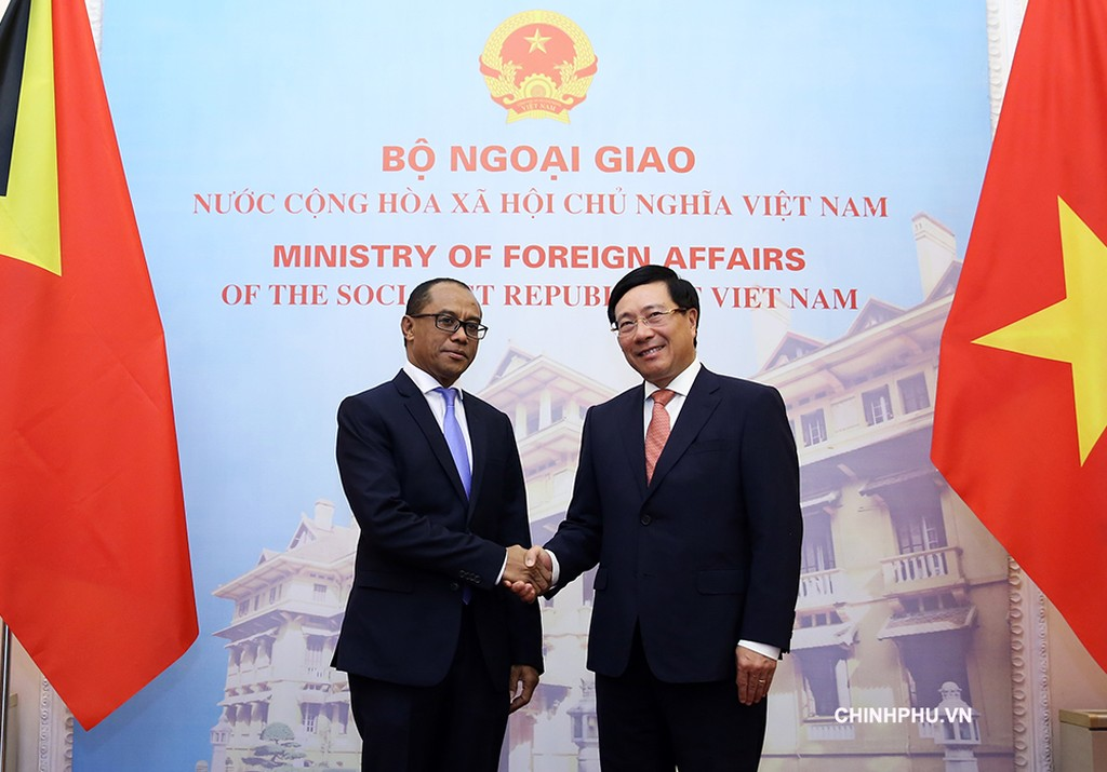 Phó Thủ tướng, Bộ trưởng Ngoại giao Phạm Bình Minh và Bộ trưởng Ngoại giao và Hợp tác Timor-Leste Dionisio Babo Soares - Ảnh: VGP