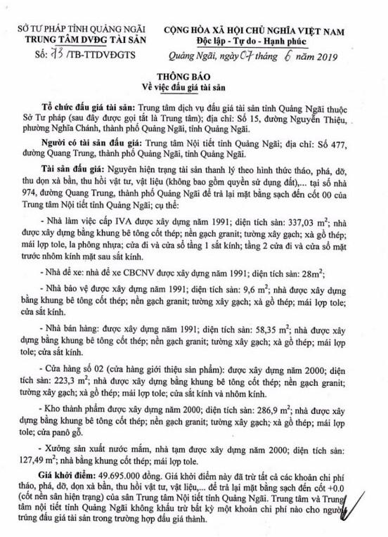 Ngày 21/6/2019, đấu giá tài sản thanh lý tại tỉnh Quảng Ngãi - ảnh 1