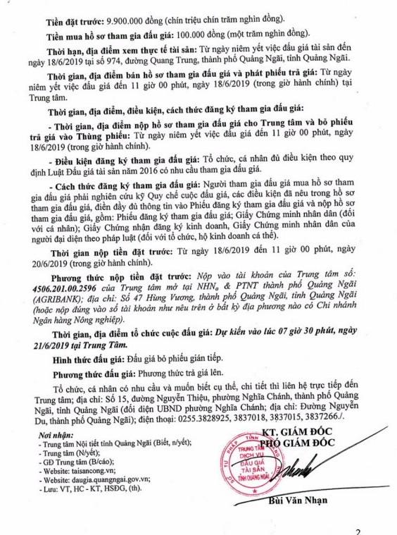 Ngày 21/6/2019, đấu giá tài sản thanh lý tại tỉnh Quảng Ngãi - ảnh 2