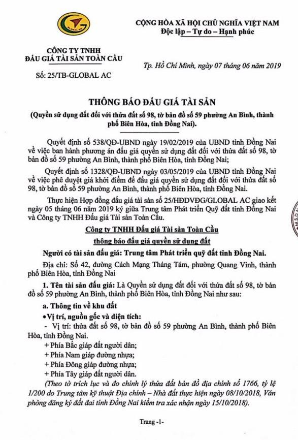 Ngày 5/7/2019, đấu giá quyền sử dụng đất tại thành phố Biên Hòa, tỉnh Đồng Nai - ảnh 1