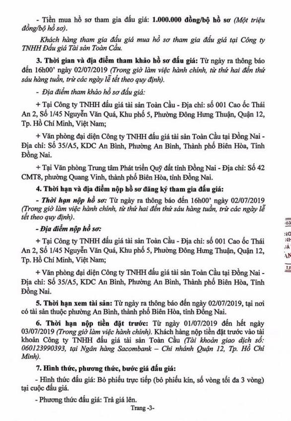 Ngày 5/7/2019, đấu giá quyền sử dụng đất tại thành phố Biên Hòa, tỉnh Đồng Nai - ảnh 3