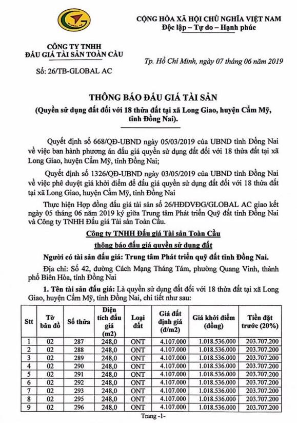 Ngày 4/7/2019, đấu giá quyền sử dụng 18 thửa đất tại huyện Cẩm Mỹ, tỉnh Đồng Nai - ảnh 1