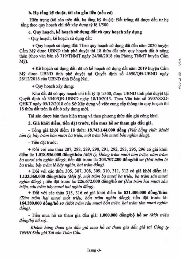 Ngày 4/7/2019, đấu giá quyền sử dụng 18 thửa đất tại huyện Cẩm Mỹ, tỉnh Đồng Nai - ảnh 3