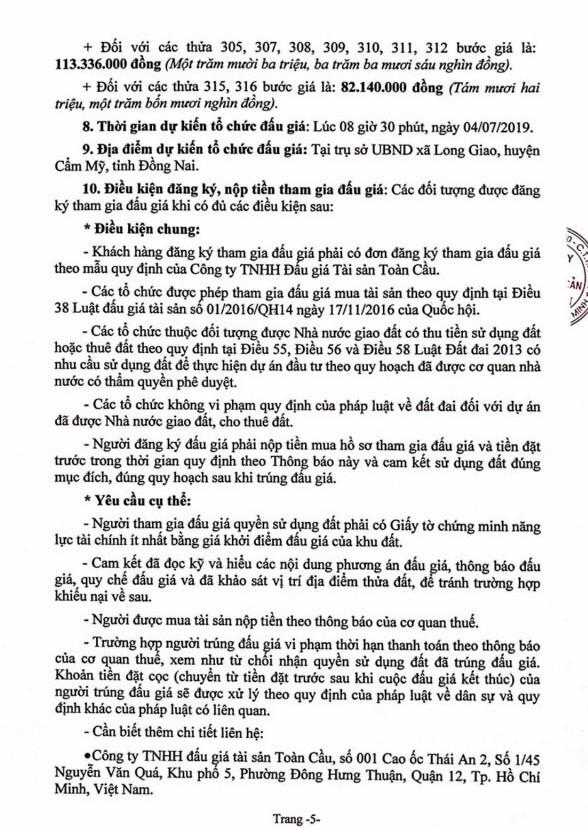 Ngày 4/7/2019, đấu giá quyền sử dụng 18 thửa đất tại huyện Cẩm Mỹ, tỉnh Đồng Nai - ảnh 5
