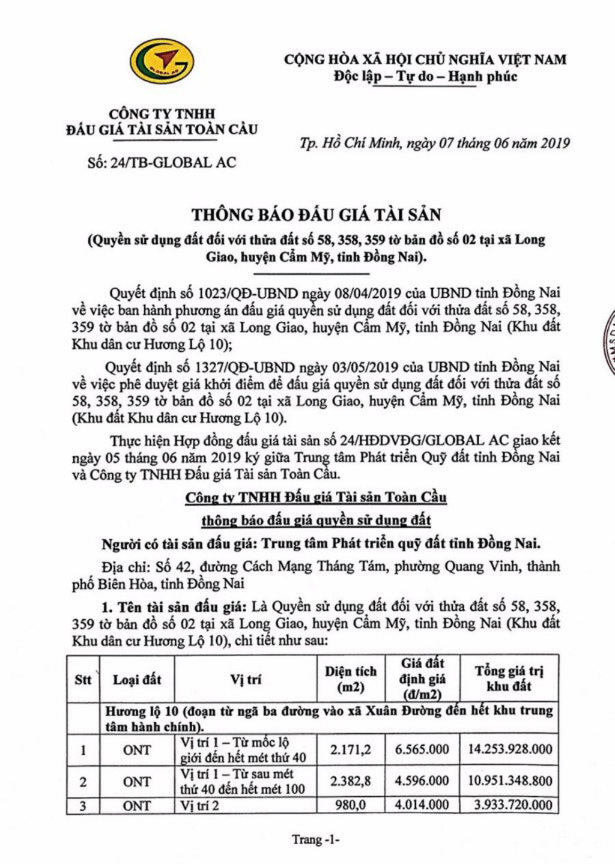 Ngày 4/7/2019, đấu giá quyền sử dụng đất tại huyện Cẩm Mỹ, tỉnh Đồng Nai - ảnh 1
