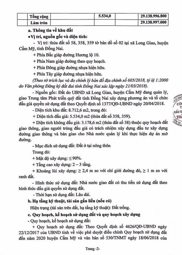 Ngày 4/7/2019, đấu giá quyền sử dụng đất tại huyện Cẩm Mỹ, tỉnh Đồng Nai - ảnh 2