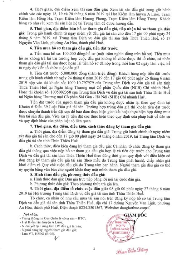 Ngày 27/6/2019, đấu giá tài sản tịch thu sung quỹ nhà nước tại tỉnh Thừa Thiên Huế - ảnh 2