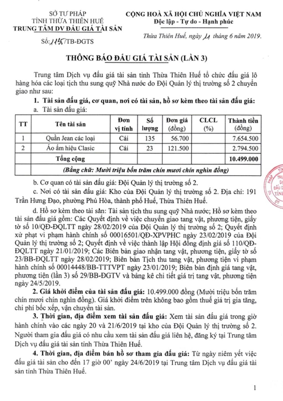 Ngày 27/6/2019, đấu giá tài sản tịch thu sung quỹ nhà nước tại tỉnh Thừa Thiên Huế - ảnh 1