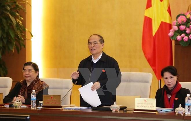 Chủ tịch Quốc hội Nguyễn Sinh Hùng phát biểu bế mạc phiên họp. (Ảnh: Phương Hoa/TTXVN)