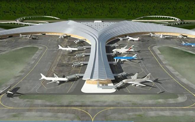Mô hình phác hoạ sân bay Long Thành.
