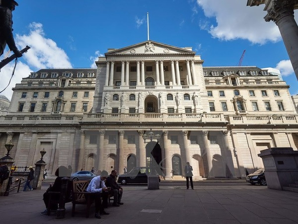 Quang cảnh bên ngoài trụ sở BoE ở thủ đô London ngày 14/7. (Nguồn: AFP/TTXVN)