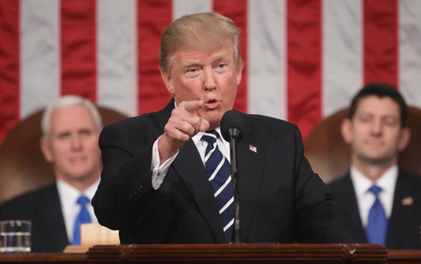Tổng thống Trump phát biểu trước Quốc hội Mỹ. Ảnh:NY Post.
