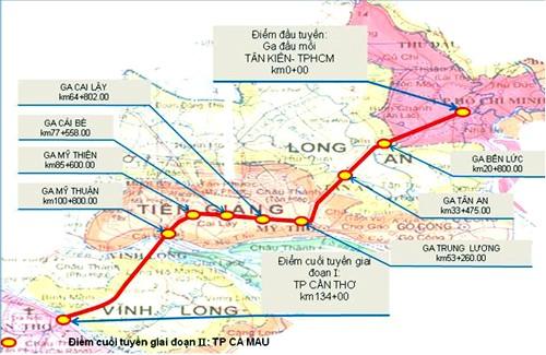 Sơ đồ tuyến đường sắt TP HCM - Cần Thơ.