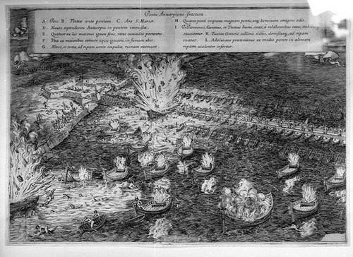 Tàu bom kích nổ để phá vòng vây ở Antwerp. Ảnh:Wikipedia.