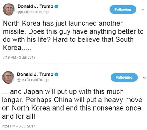 Trump kêu gọi Trung Quốc 'nặng tay' với Triều Tiên - ảnh 1