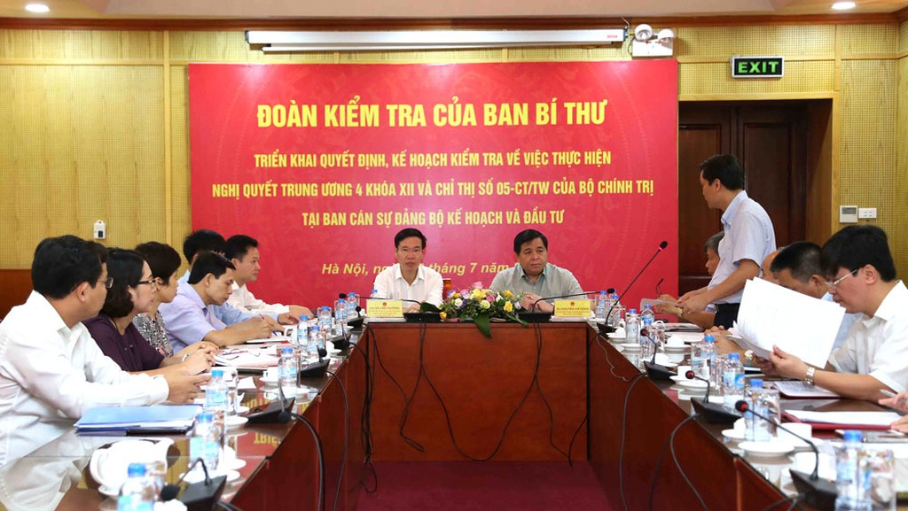 Đoàn kiểm tra của Ban Bí thư Trung ương Đảng làm việc tại Bộ Kế hoạch và Đầu tư
