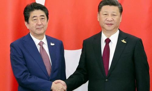 Thủ tướng Nhật Bản Shinzo Abe, trái, gặpChủ tịch Trung Quốc Tập Cận Bình ở Đức. Ảnh:Kyodo.