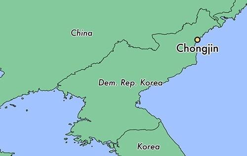 Vị trí thành phố Chongjin, Triều Tiên. Đồ họa:World Atlas.