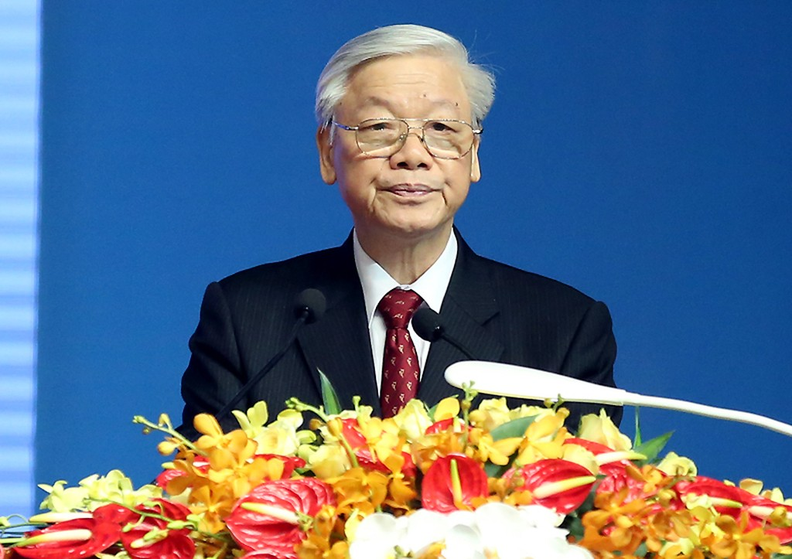 Tổng Bí thư Nguyễn Phú Trọng phát biểu tại Lễ kỷ niệm. Ảnh: VGP/Tuấn Dũng