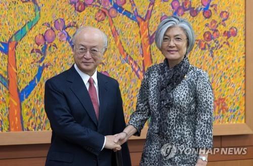 Ông Yukiya Amano, Giám đốc IAEA, gặp Ngoại trưởng Hàn Quốc. Ảnh:Yonhap.