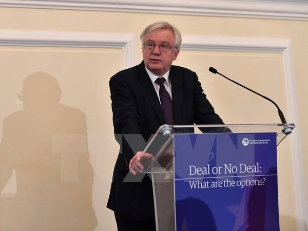 Bộ trưởng phụ trách vấn đề Brexit của Anh David Davis phát biểu tại thủ đô London ngày 21/11. (Nguồn: AFP/TTXVN)
