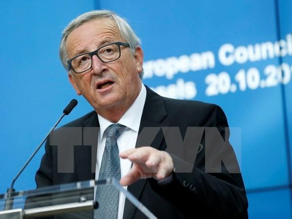 Chủ tịch Ủy ban châu Âu Jean-Claude Juncker tại cuộc họp báo ở Brussels, Bỉ. (Nguồn: THX/TTXVN)